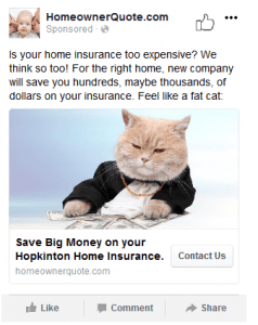 new, Hopkinton, MA homeowner insurance facebook campaign